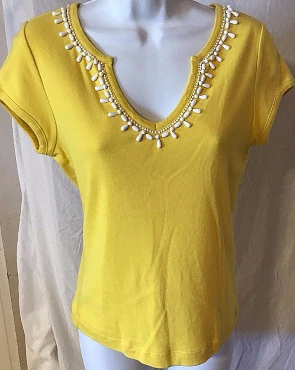Women's Yellow V-Neck Beaded Top Size S by Talbots (02648)