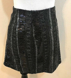 Women's New Black Sequined Striped Skirt Size 10 by Express (04043)