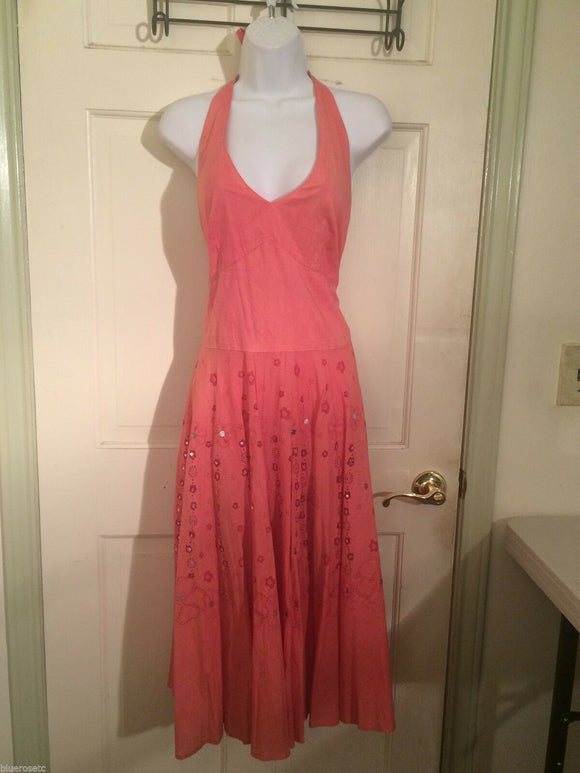Women's Salmon Halter Embellished Dress by Angie (01350)