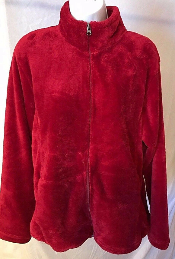 Women's Red Fluffy Fleece Jacket Size XL by White Sierra (02653)