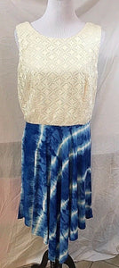 Women's Beige & Blue Tie-Dyed Asymmetrical Dress Size L by Luxology (03108)
