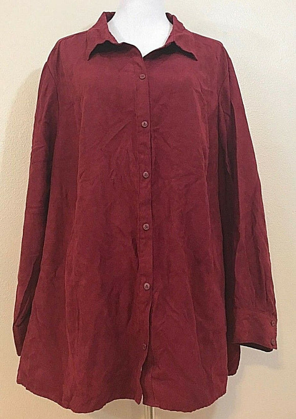 Women's Plus Size Burgundy Velour Button Down Shirt Size 3X 26/28W by Catherines (03857)