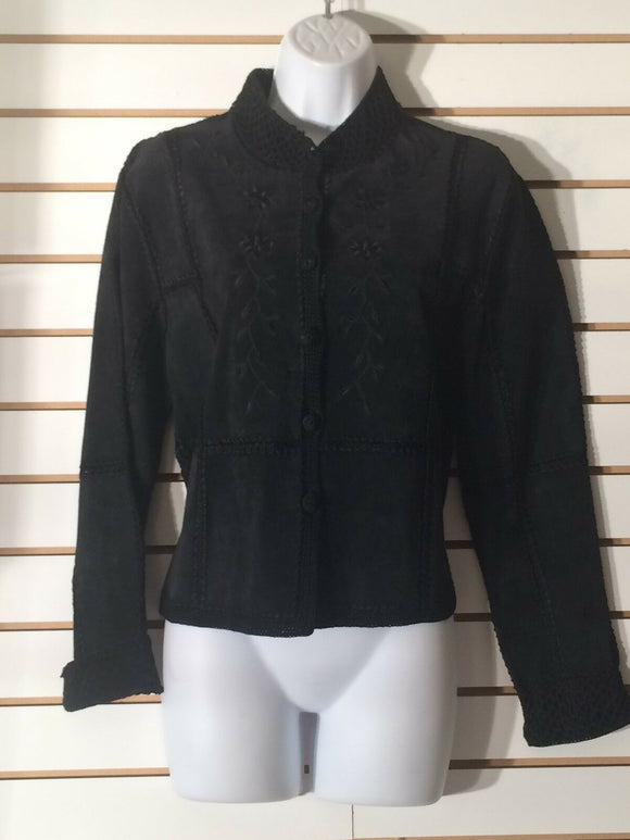 Women's Black Suede & Knit Jacket by SMH Boutique (01989)