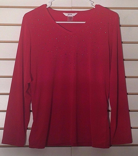 Women's Petite Red V-Neck Embellished Top Size PS/P by Alia Petite (02109)