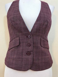 Women's Plum Tweed Button Down Vest Size 0 by 7th Avenue (04333)