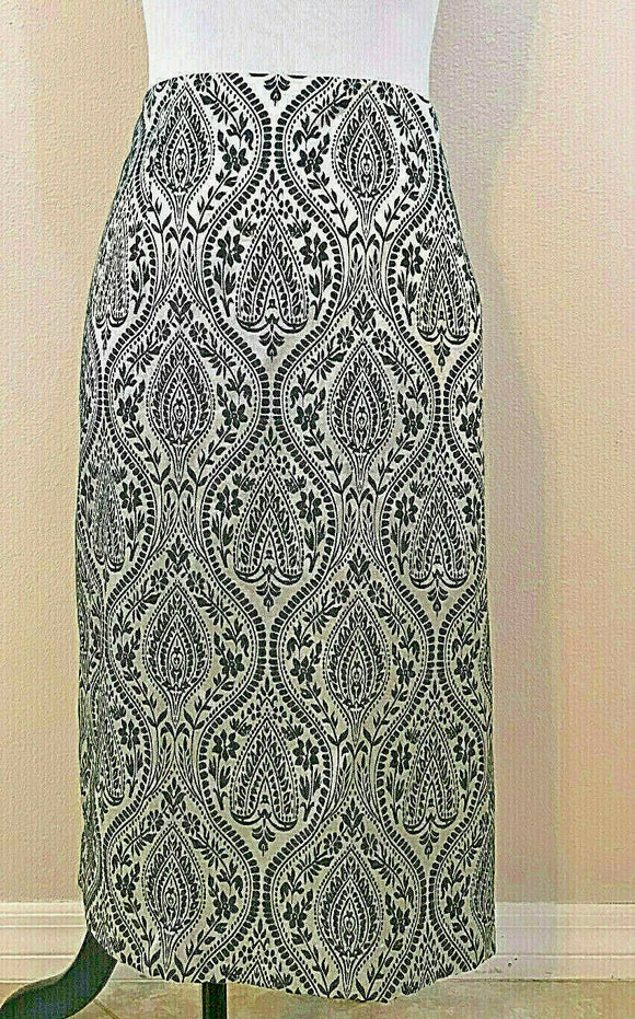 Women's Plus Size Silver & Black Floral Skirt by Worthington (04205)