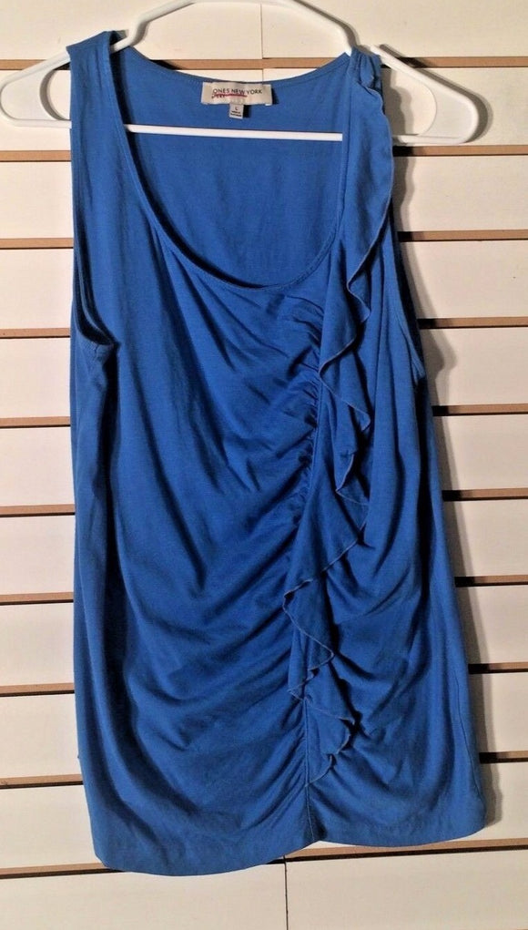 Women's Royal Blue Ruffled Tank Top Size L by Jones New York Sport (01965)