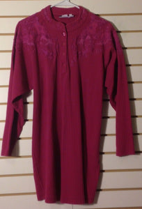 Women's Fushia Ribbed Embellished Tunic Top Size L by Together (01476)