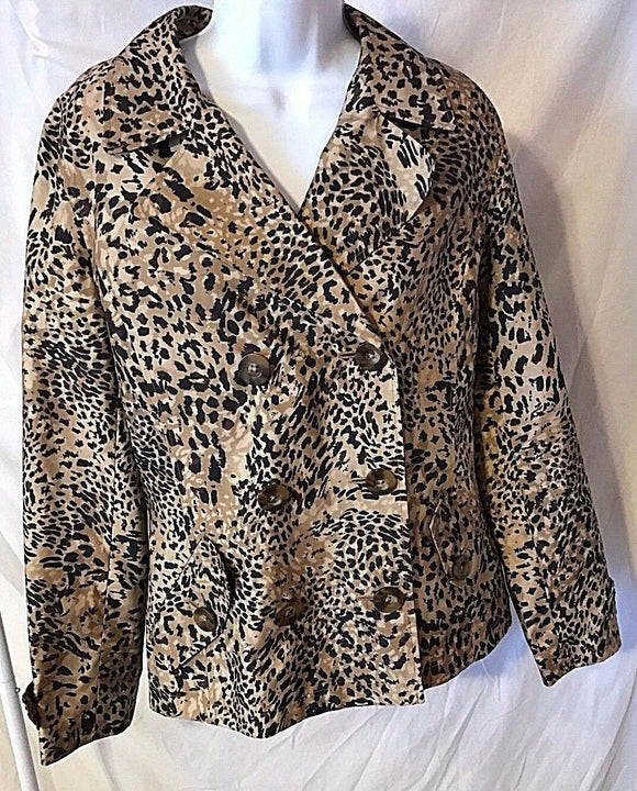 Women's Tan Animal Print Double Breasted Jacket Size M by Jones New York  (02715)