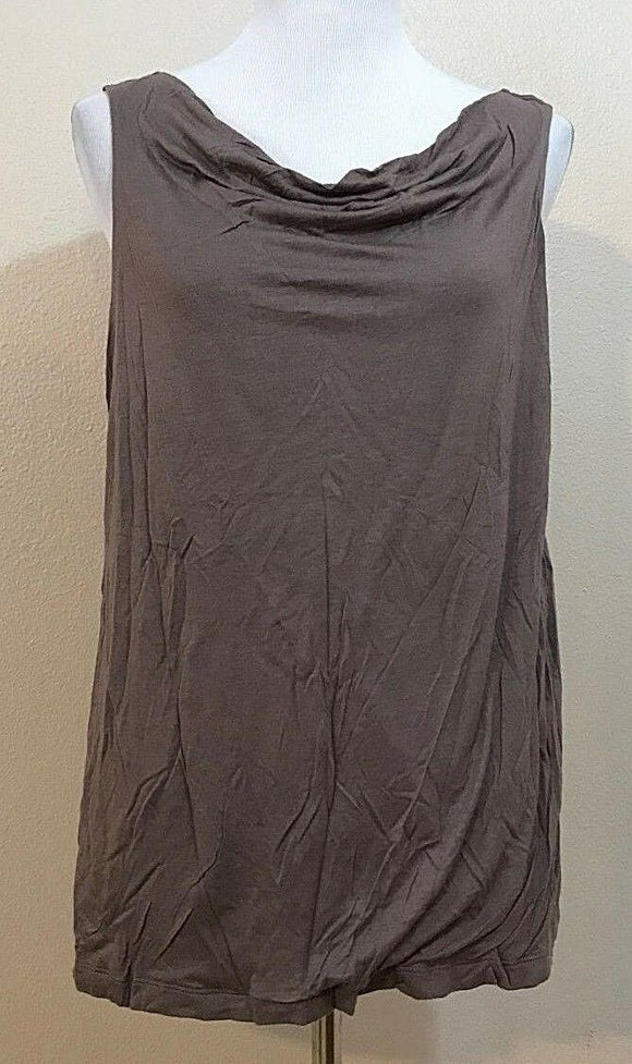 Women's Taupe Gathered Scoop Neck Size XL by Ann Taylor LOFT (04000)