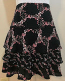 Women's Black & Pink Floral Layered Skirt Size 10 by White House Black Market (04041)
