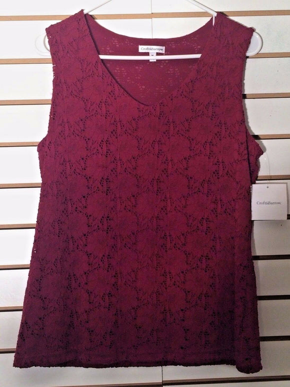 Women's New Wine Colored Lace Top Size M by Croft & Barrow (02092)
