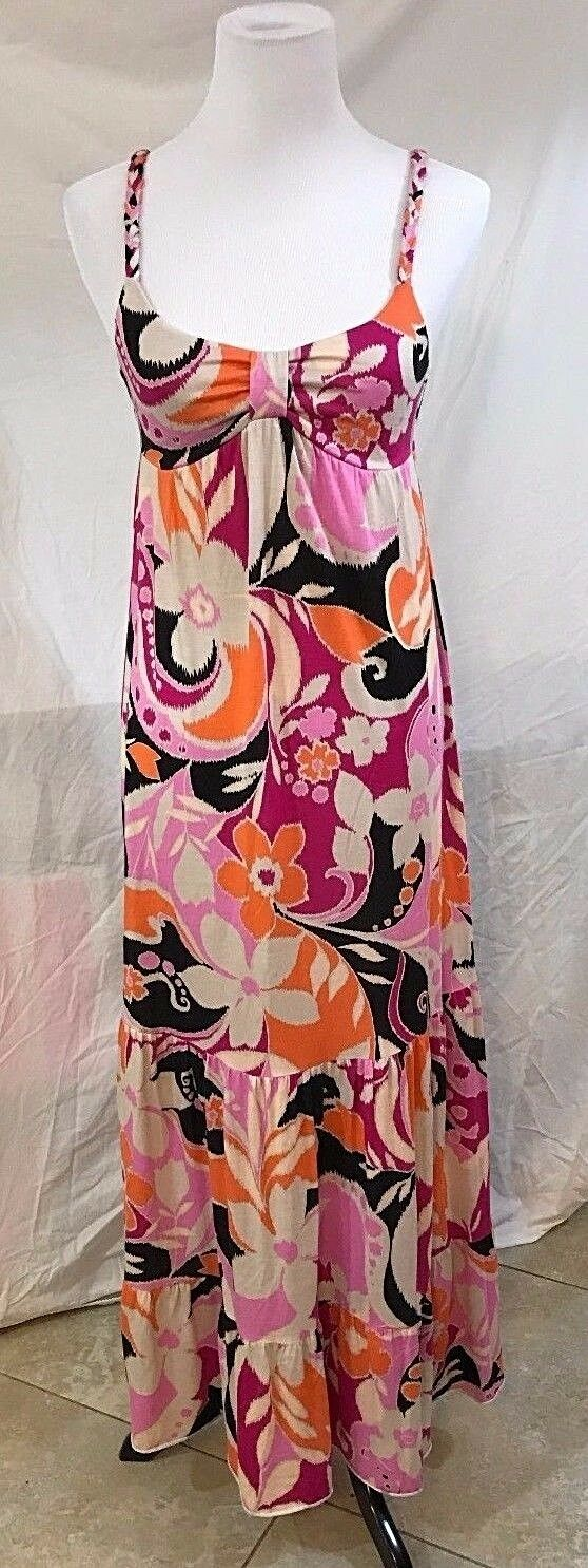 Women's Pink Floral Multi-Color Long Dress Size S by Buffalo David Bitton (03062)