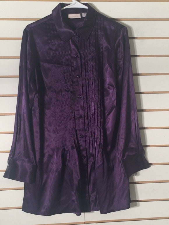 Women's Purple Long Satin Blouse Size 1 by Chico's (00343)