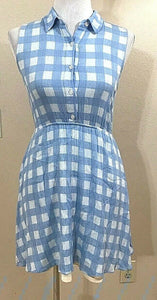 Women's Blue & White Checkered Tea Dress by Monteau Los Angeles (04114)