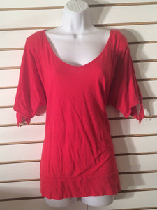 Women's V-Neck Red Long Top Size XL by NY & Company (01796)