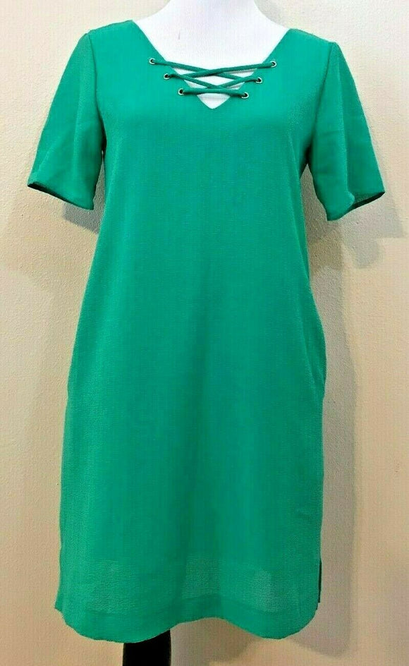 Women's New Green Tied V-Neck Dress Size S by dee elle (04196)