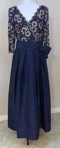Navy Blue Lace Criss-Cross 2-Tone Gown by Jessica Howard