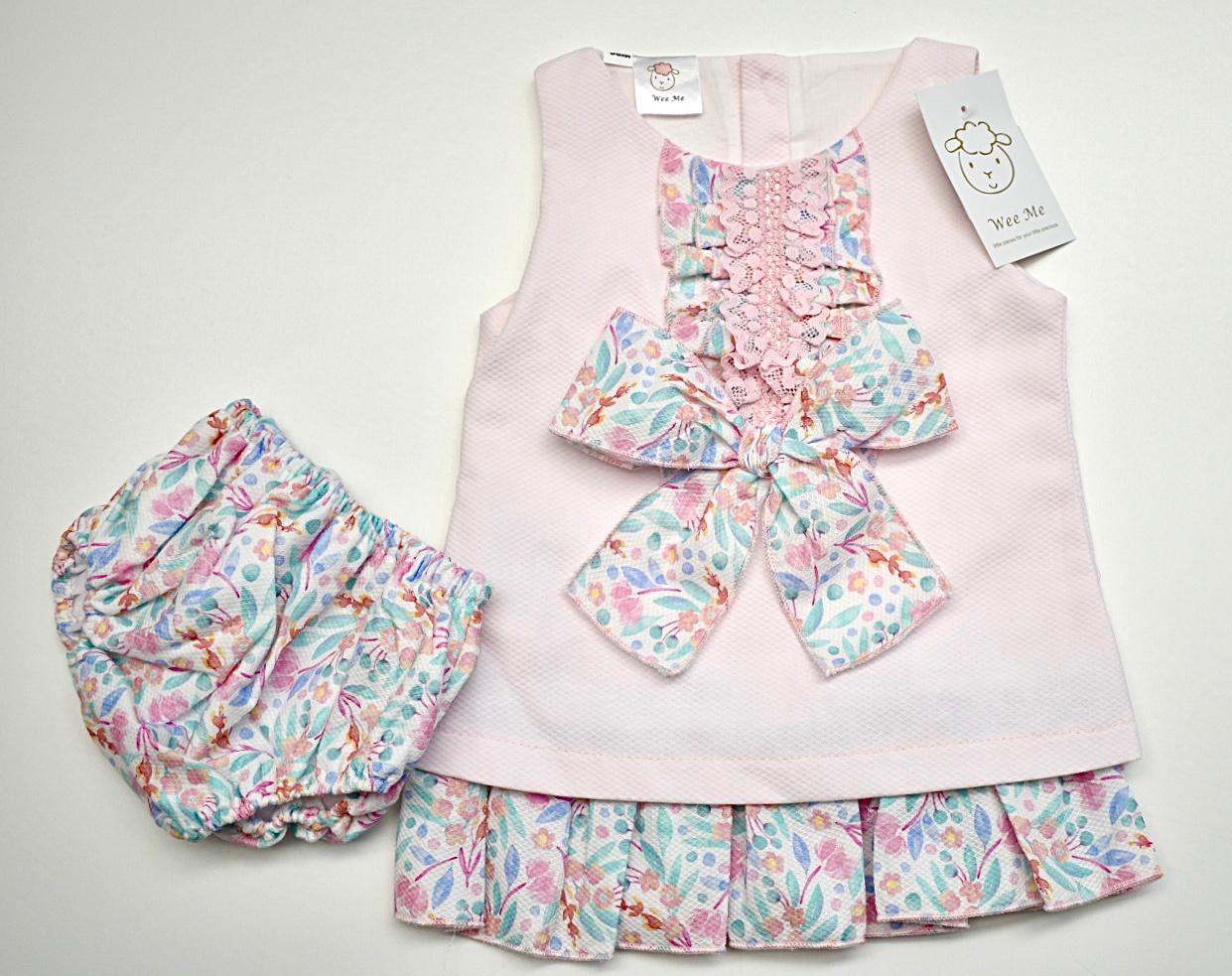 New Gorgeous Wee Me Baby Girl Pink Stripe Spanish Drop Waist Dress Layers Lace