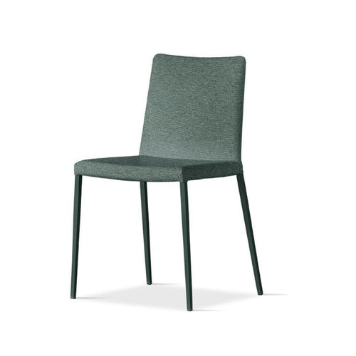 Chair with metal structure and fabric seat leather
