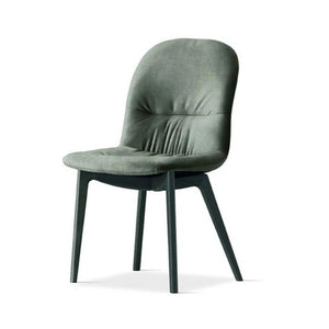Chair with wooden structure metal and fabric seat leather by Sedit