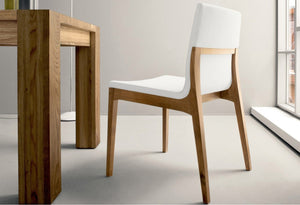 Chair with wooden structure and fabric seat leather by Sedit