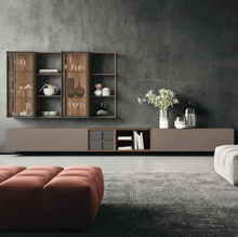 Load image into Gallery viewer, Day-6 TV media unit with glass cabinets by Orme - myitalianliving