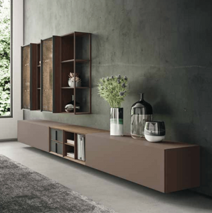 Day-6 TV media unit with glass cabinets by Orme - myitalianliving