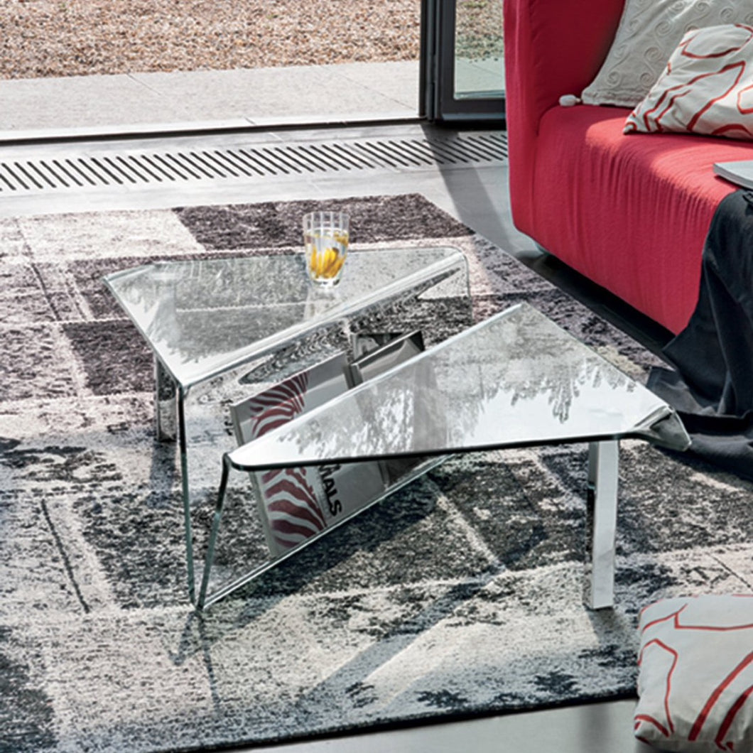 Albatros curved glass coffee table