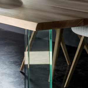 Glass table with top in solid ash wood