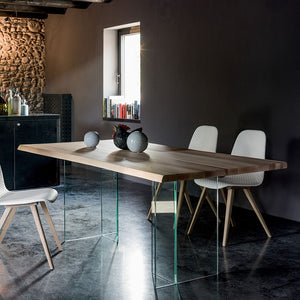 Glass table with top in solid ash wood by Dall'Agnese