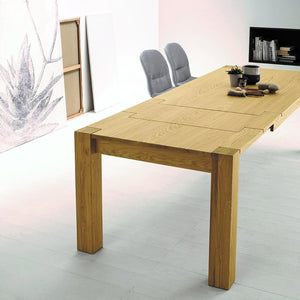 Bio extending veneered oak dining table