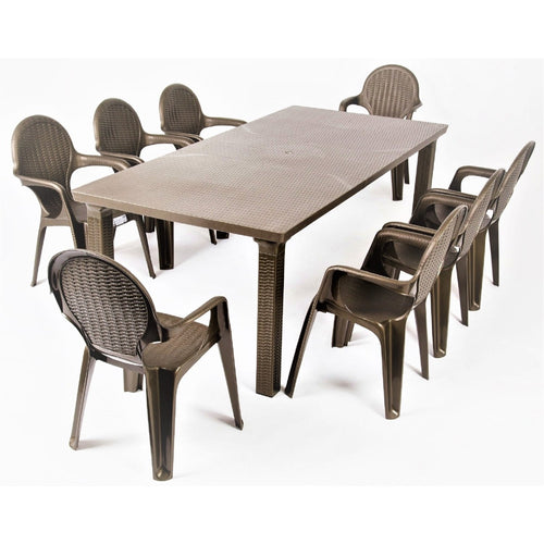 Intrecciata 9 pc resin garden dining set by Scab Design - myitalianliving