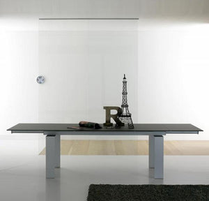 Alu Modern Italian extending dining table Glass