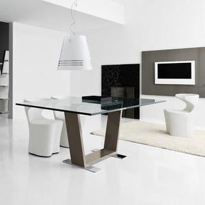 Dori fixed glossy base dining table