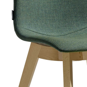 Natural upholstered cross leg frame chair