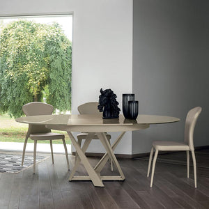 Cronos round modern extending dining table