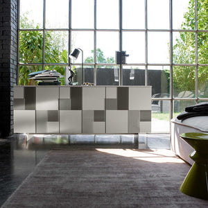 Glass mosaic door freestanding sideboard by Dall'Agnese