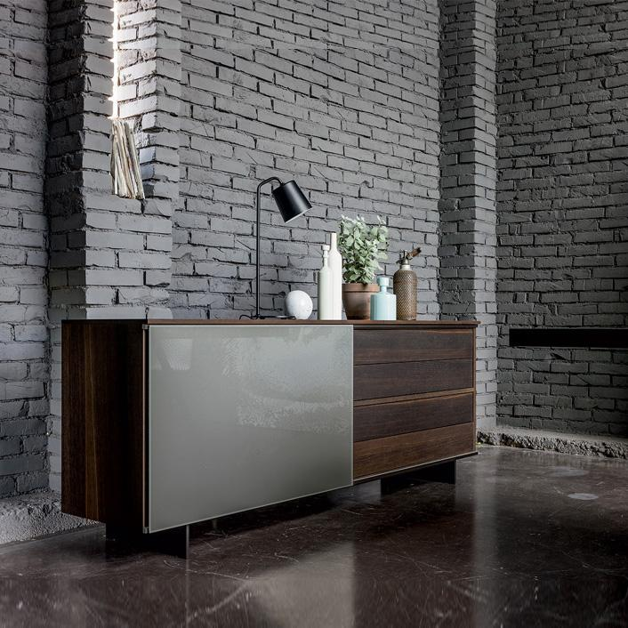 Slide sliding door wooden sideboard by Dall'Agnese