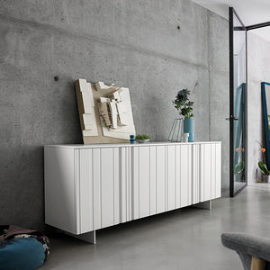 Design white 4 carved door sideboard by Dall'Agnese - myitalianliving
