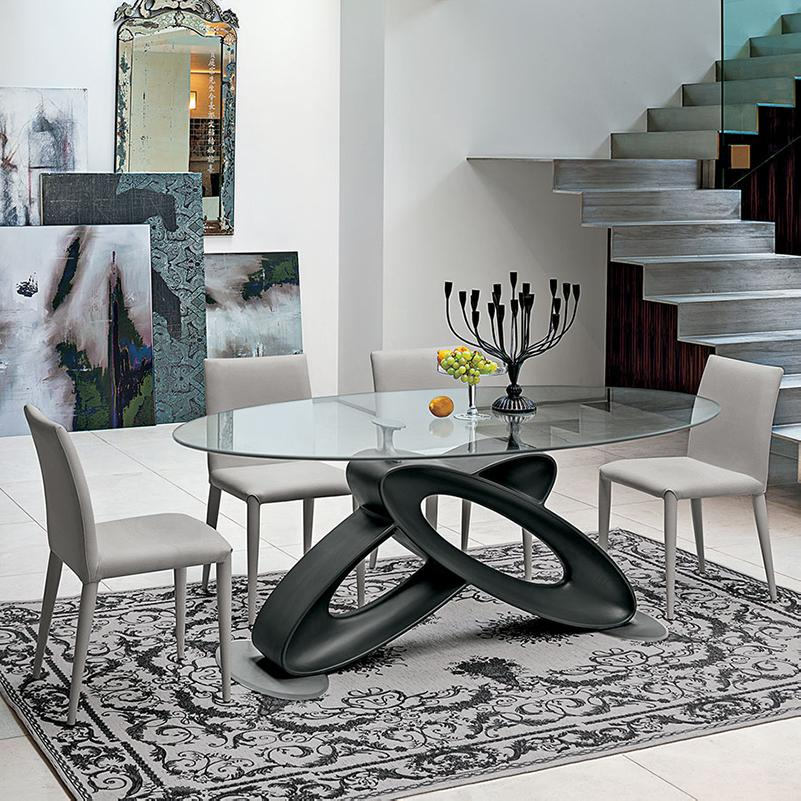 Eclipse glass top fixed dining table by Target Point