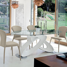 Load image into Gallery viewer, Eclipse glass top fixed dining table