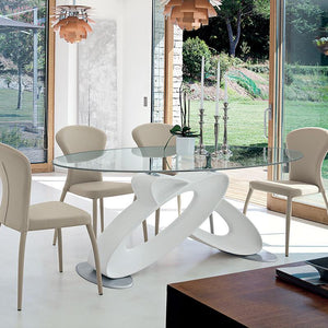 Eclipse glass top fixed dining table