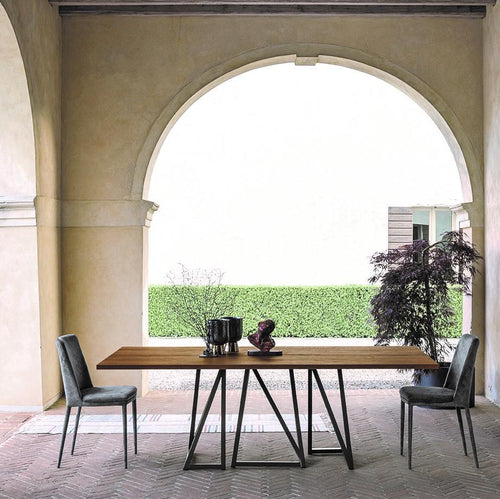Enigma modern geometric base dining table by Sedit