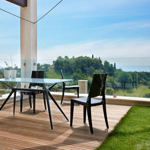 Glenda modern 4pc stacking patio transparent chairs by Scab Design - myitalianliving