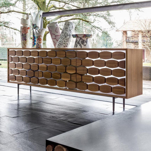Honey sophisticated 3 doors sideboard by Tonin Casa.