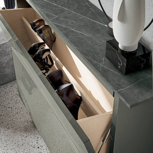 Hosoi modern shoe storage with resin shelf top by Birex - myitalianliving