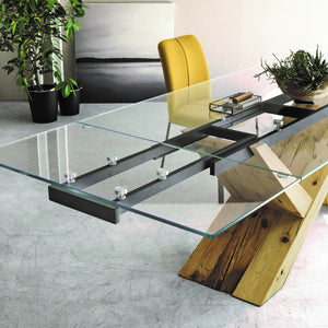 Ikarus fixed extending dining table