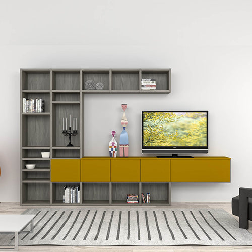 Senape modern wall mounted TV media unit by Mobilstella