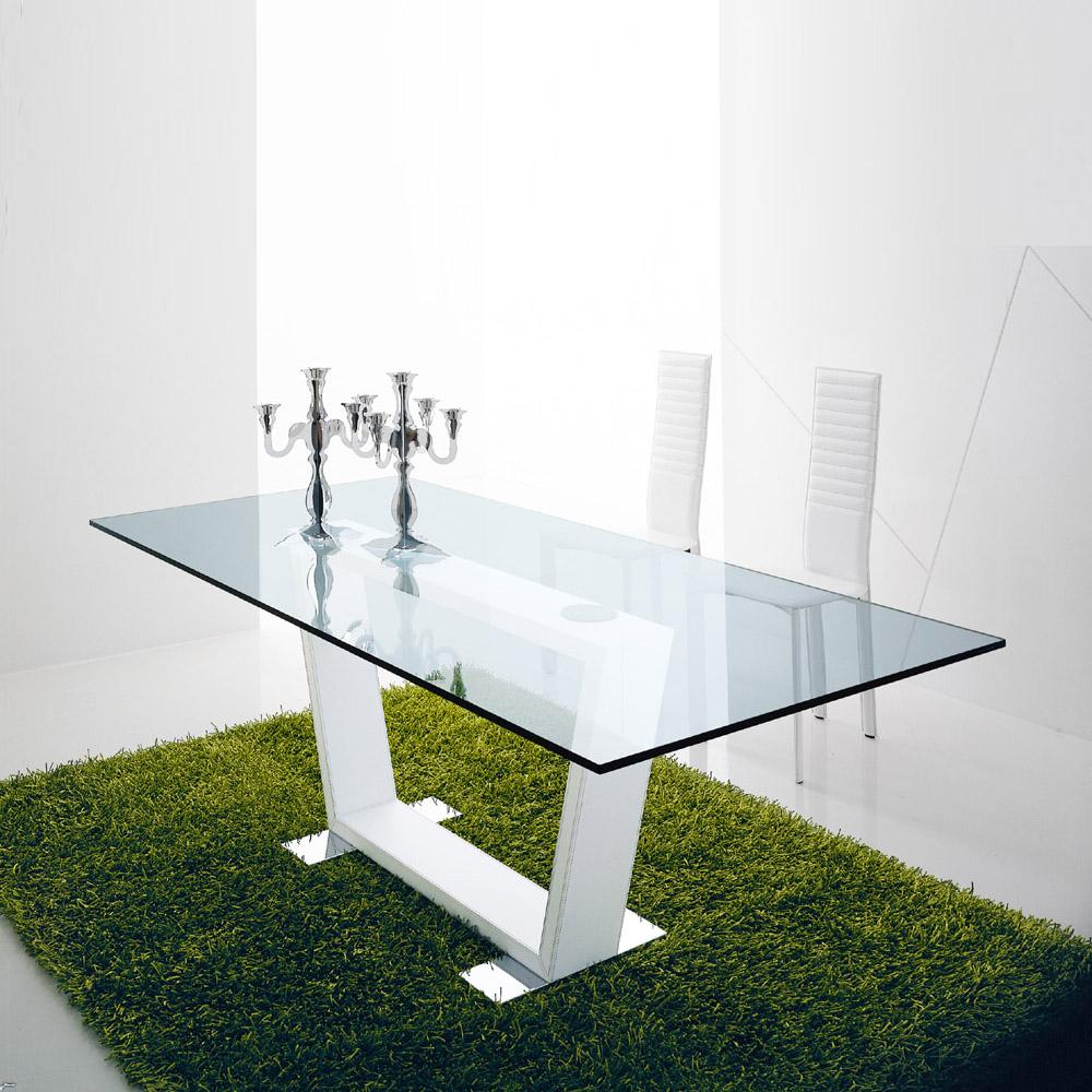 Dori fixed glossy base dining table by Compar